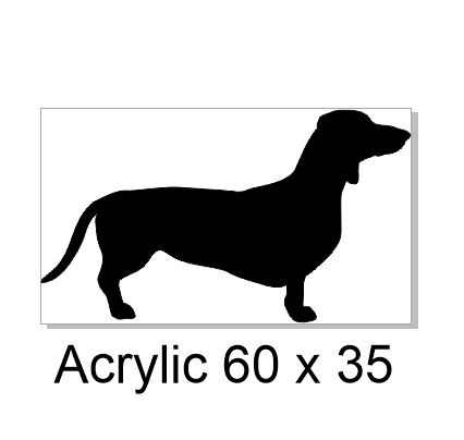 Dachshund,Dashound Acrylic 60 x 35mm pack of 5